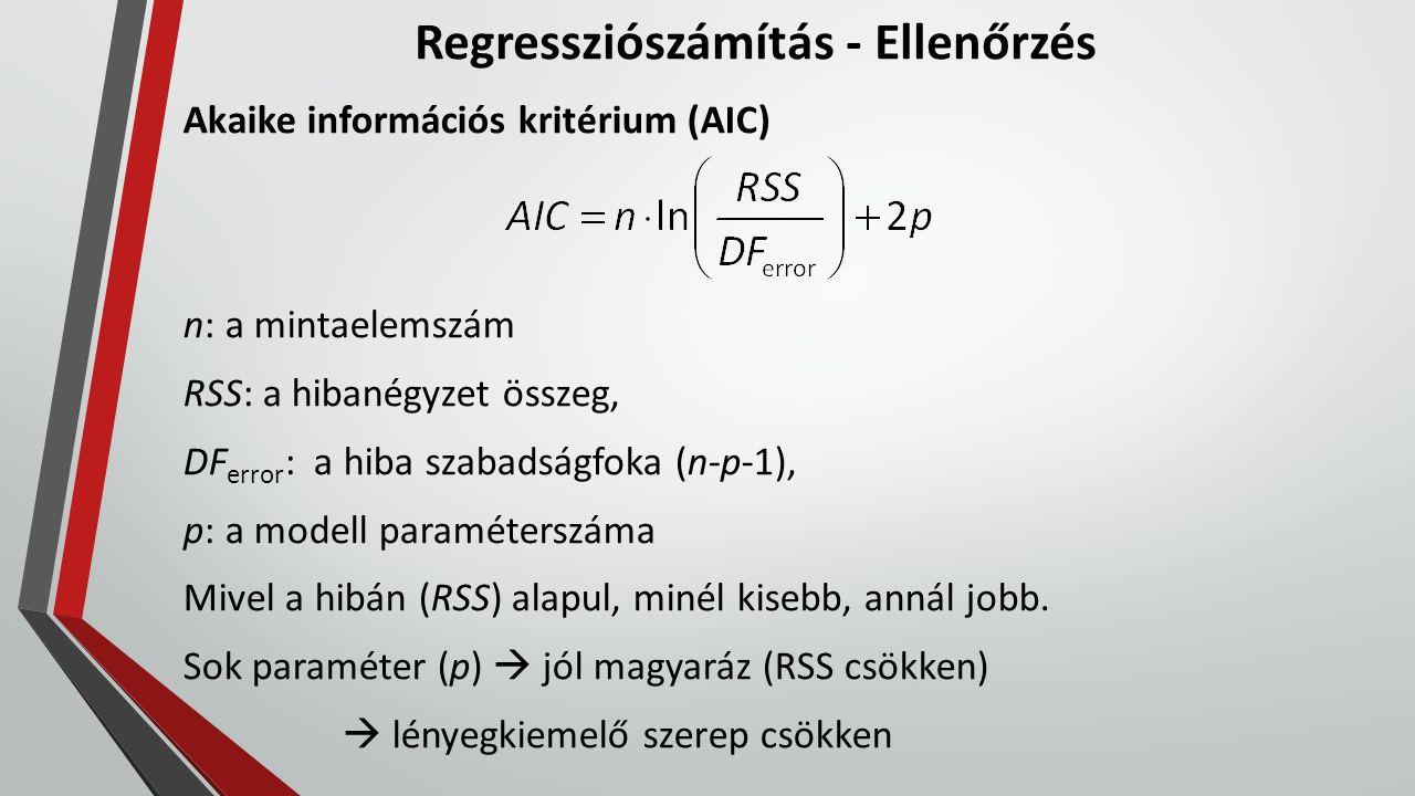 Regressziószámítás - Ellenőrzés Akaike információs kritérium (AIC) n: a mintaelemszám RSS: a hibanégyzet összeg, DF error : a hiba szabadságfoka (n-p-