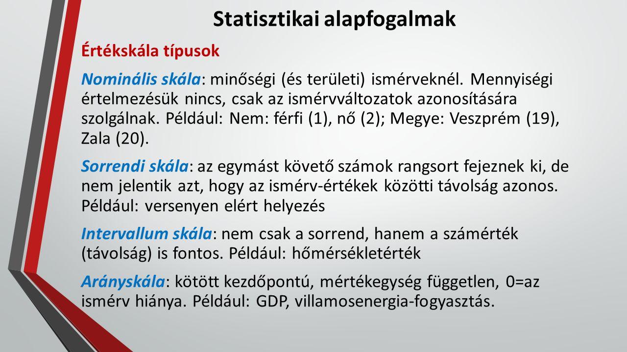 Statisztikai alapfogalmak Értékskála típusok Nominális skála: minőségi (és területi) ismérveknél. Mennyiségi értelmezésük nincs, csak az ismérvváltoza