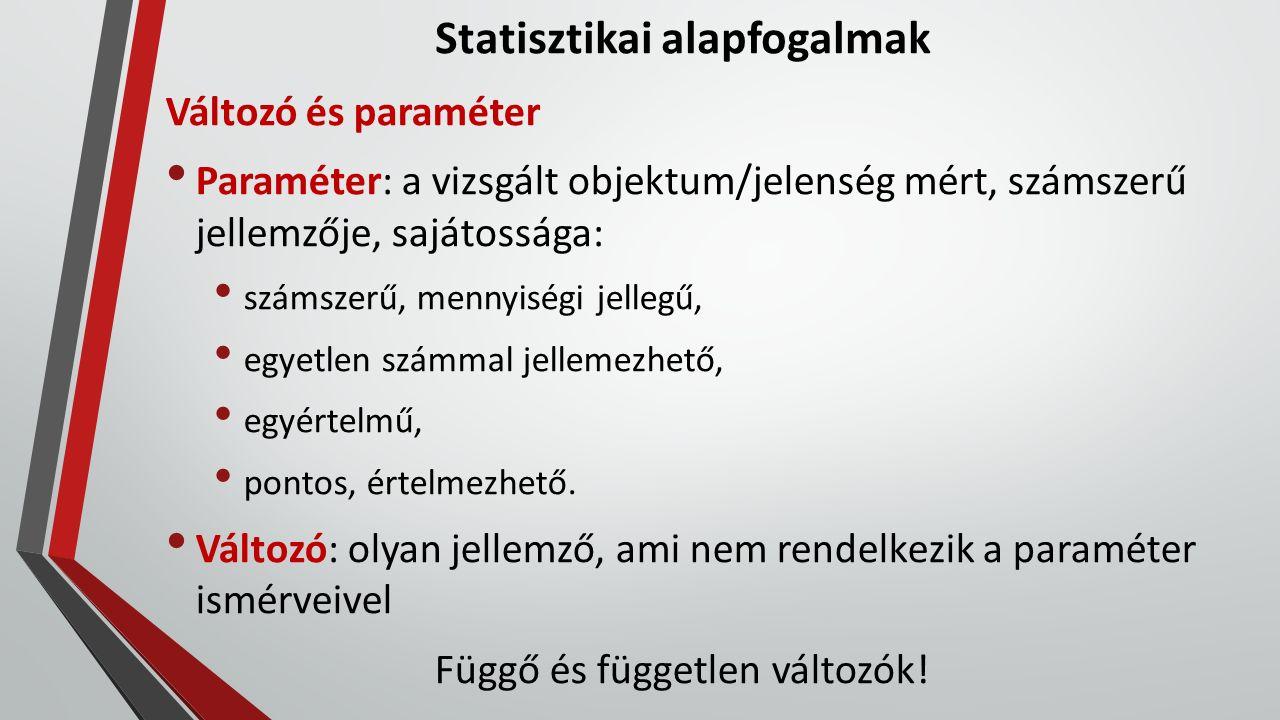 Statisztikai alapfogalmak Statisztika típusok Leíró statisztika (decriptives, basic statistic) a minta egyik változójának alapvető jellemzőit adja meg, leírja a mintát, annak jellemzőit [átlag, szórás, medián stb.] további vizsgálatok kiinduló adatai Középértékek átlag (számtani középérték) = mintaösszeg/elemszám medián: a nagyság szerint rendezett adatok közül a középső módusz: a leggyakrabban előforduló érték
