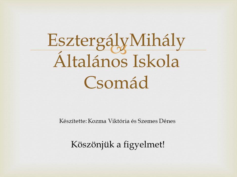  EsztergályMihály Általános Iskola Csomád Készítette: Kozma Viktória és Szemes Dénes Köszönjük a figyelmet!