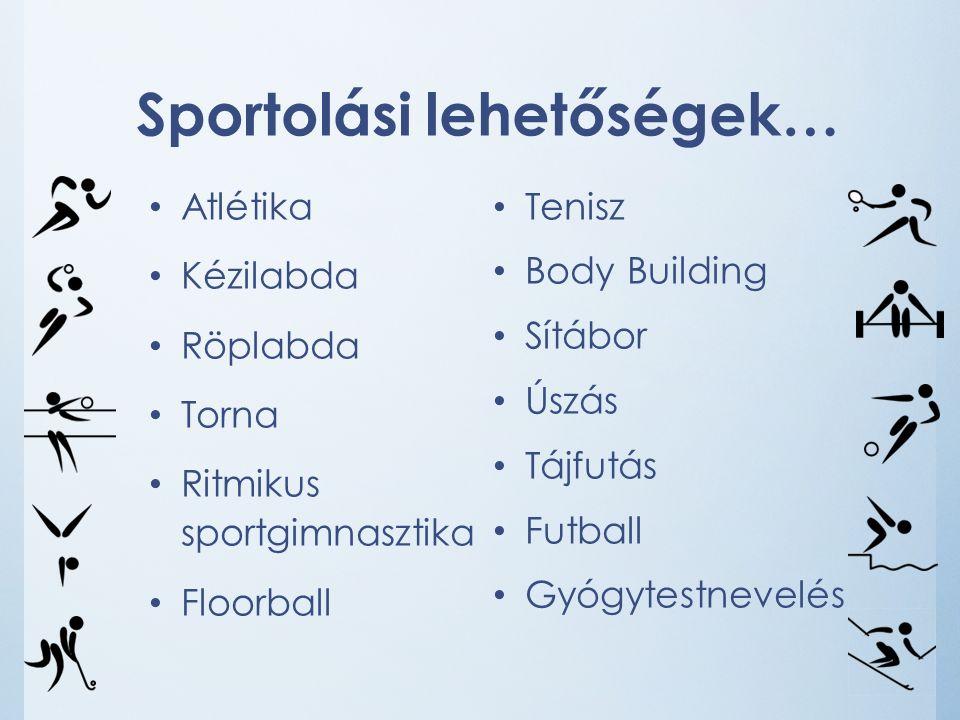 Sportolási lehetőségek… Atlétika Kézilabda Röplabda Torna Ritmikus sportgimnasztika Floorball Tenisz Body Building Sítábor Úszás Tájfutás Futball Gyógytestnevelés