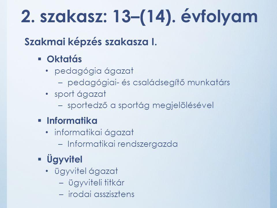 2. szakasz: 13–(14). évfolyam Szakmai képzés szakasza I.