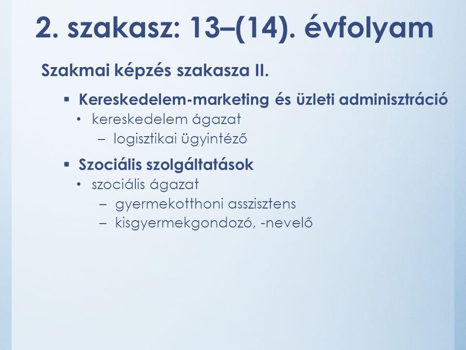 2. szakasz: 13–(14). évfolyam Szakmai képzés szakasza II.