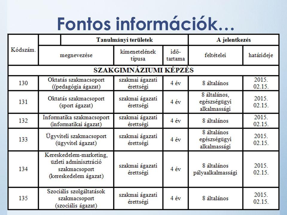 Fontos információk…