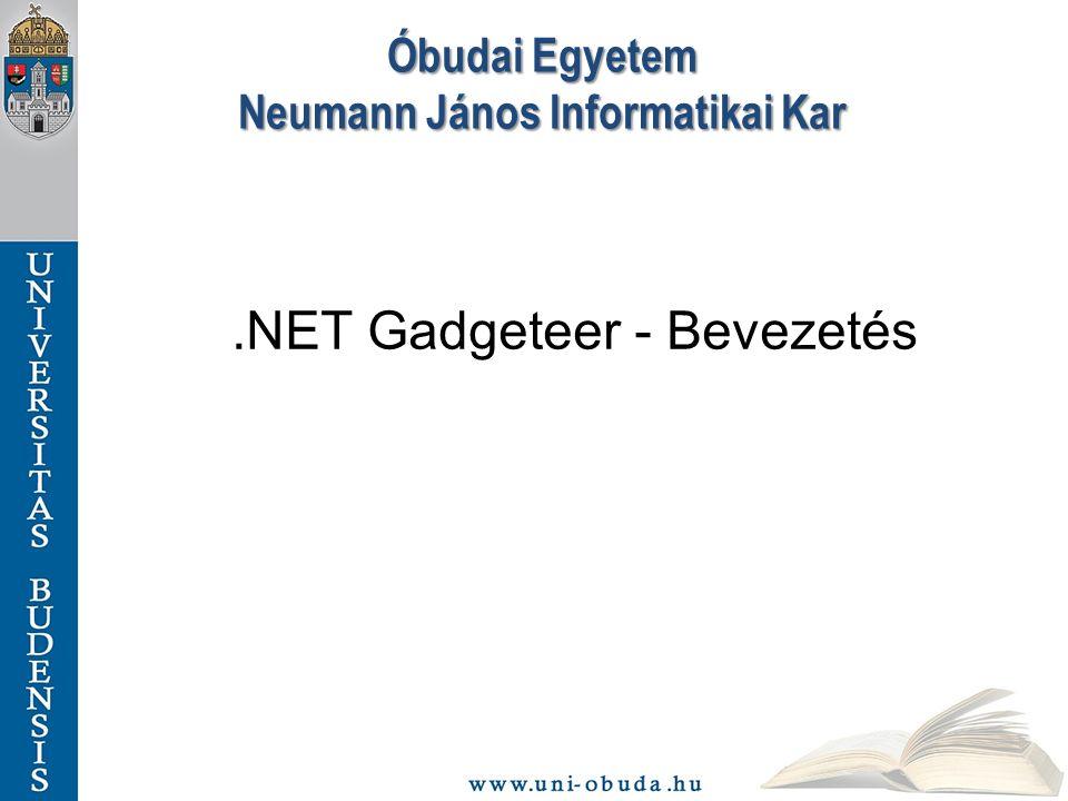 Óbudai Egyetem Neumann János Informatikai Kar.NET Gadgeteer - Bevezetés