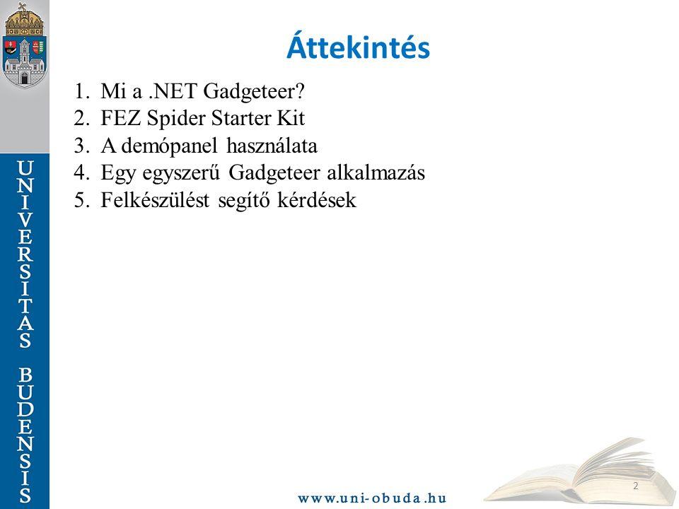 Áttekintés 1.Mi a.NET Gadgeteer? 2.FEZ Spider Starter Kit 3.A demópanel használata 4.Egy egyszerű Gadgeteer alkalmazás 5.Felkészülést segítő kérdések