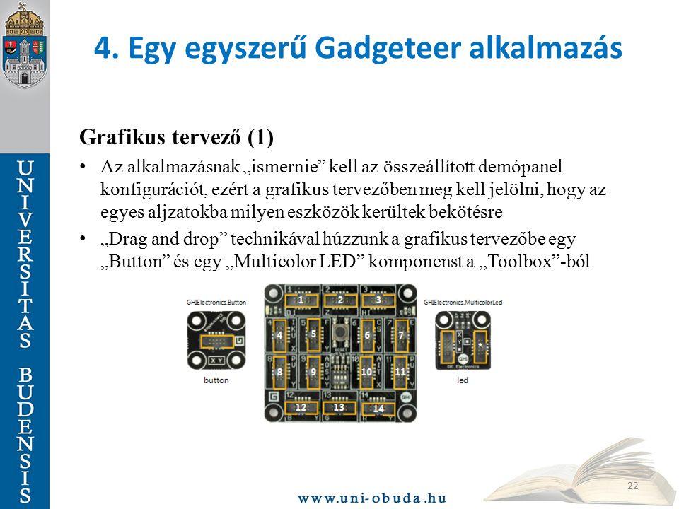 """4. Egy egyszerű Gadgeteer alkalmazás Grafikus tervező (1) Az alkalmazásnak """"ismernie"""" kell az összeállított demópanel konfigurációt, ezért a grafikus"""