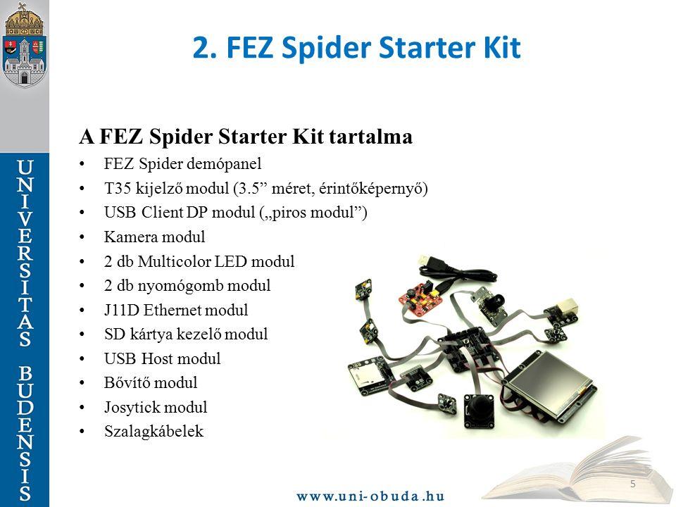 """2. FEZ Spider Starter Kit A FEZ Spider Starter Kit tartalma FEZ Spider demópanel T35 kijelző modul (3.5"""" méret, érintőképernyő) USB Client DP modul ("""""""