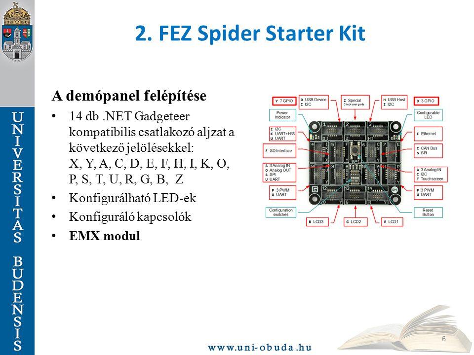 2. FEZ Spider Starter Kit A demópanel felépítése 14 db.NET Gadgeteer kompatibilis csatlakozó aljzat a következő jelölésekkel: X, Y, A, C, D, E, F, H,