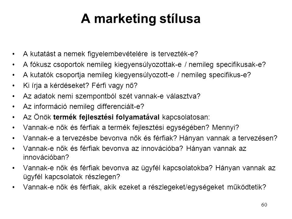 A marketing stílusa A kutatást a nemek figyelembevételére is tervezték-e.