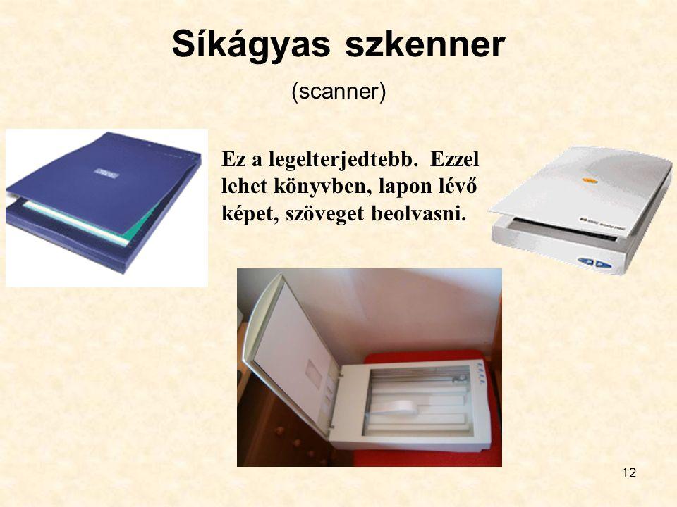 12 Síkágyas szkenner Ez a legelterjedtebb. Ezzel lehet könyvben, lapon lévő képet, szöveget beolvasni. (scanner)
