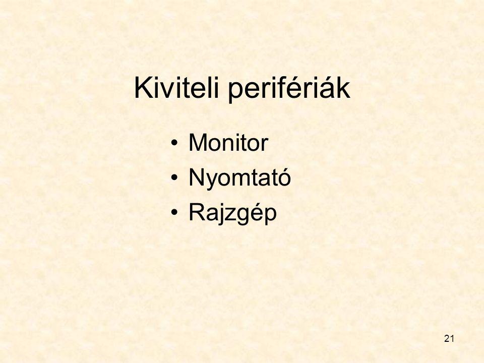 21 Kiviteli perifériák Monitor Nyomtató Rajzgép