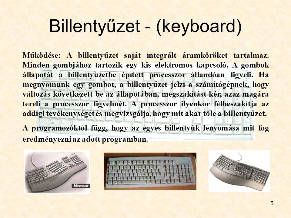 5 Billentyűzet - (keyboard) Működése: A billentyűzet saját integrált áramköröket tartalmaz. Minden gombjához tartozik egy kis elektromos kapcsoló. A g
