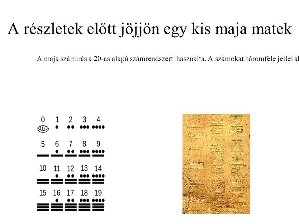 A részletek előtt jöjjön egy kis maja matek A maja számírás a 20-as alapú számrendszert használta.