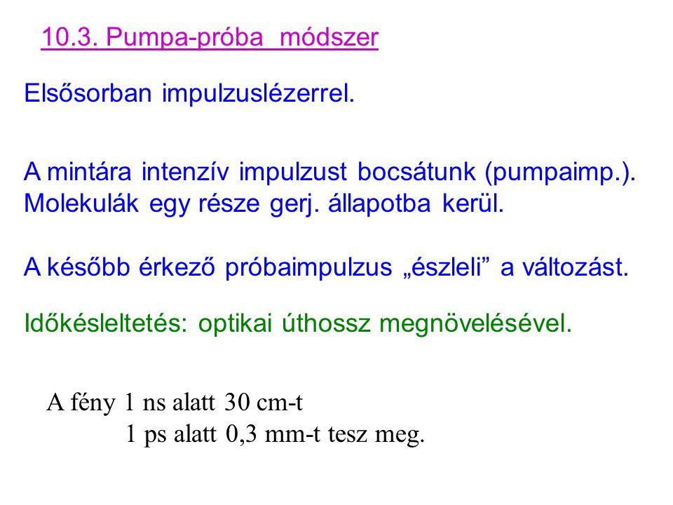 10.3. Pumpa-próba módszer Elsősorban impulzuslézerrel.