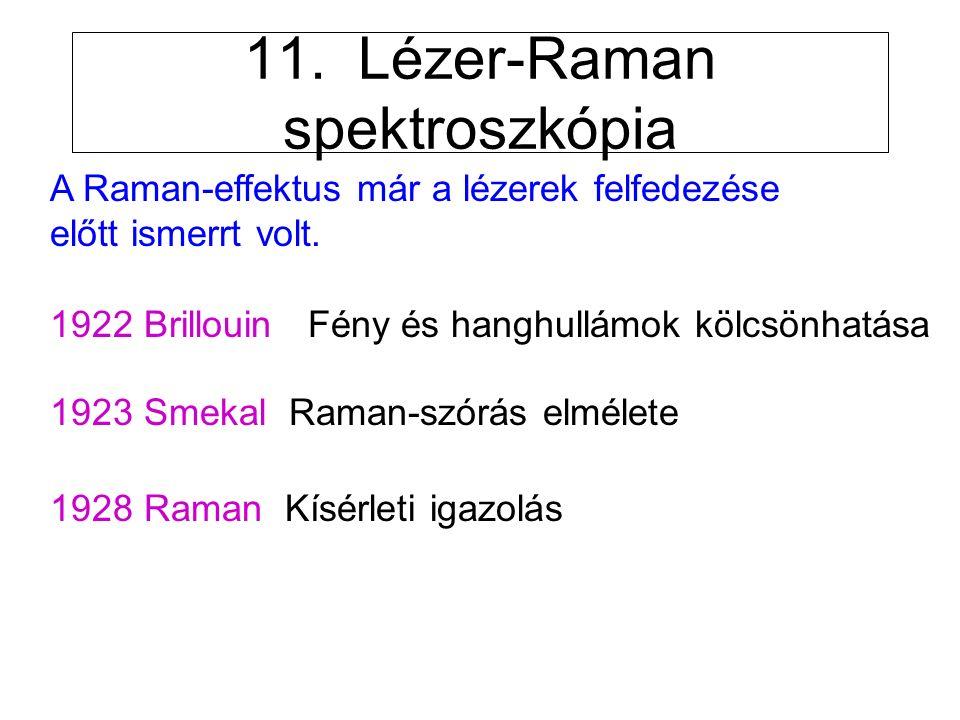 11. Lézer-Raman spektroszkópia A Raman-effektus már a lézerek felfedezése előtt ismerrt volt.