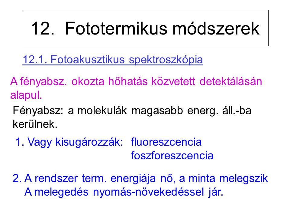 12. Fototermikus módszerek 1. Vagy kisugározzák: fluoreszcencia foszforeszcencia A fényabsz.