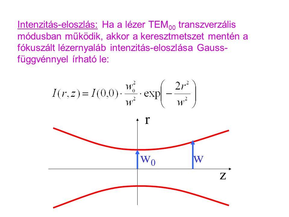 Intenzitás-eloszlás: Ha a lézer TEM 00 transzverzális módusban működik, akkor a keresztmetszet mentén a fókuszált lézernyaláb intenzitás-eloszlása Gauss- függvénnyel írható le: z r w0w0 w