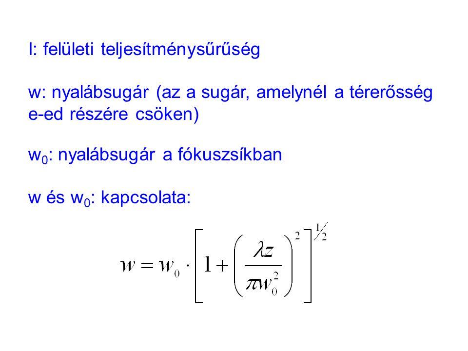 I: felületi teljesítménysűrűség w: nyalábsugár (az a sugár, amelynél a térerősség e-ed részére csöken) w 0 : nyalábsugár a fókuszsíkban w és w 0 : kapcsolata: