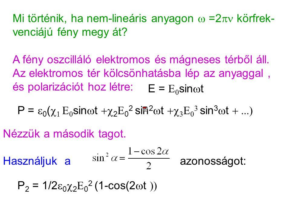 Mi történik, ha nem-lineáris anyagon  =2  körfrek- venciájú fény megy át.