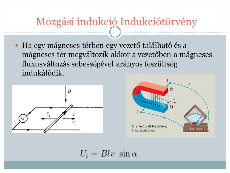 Mozgási indukció Indukciótörvény Ha egy mágneses térben egy vezető található és a mágneses tér megváltozik akkor a vezetőben a mágneses fluxusváltozás sebességével arányos feszültség indukálódik.