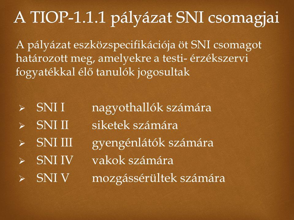  SNI Inagyothallók számára  SNI IIsiketek számára  SNI IIIgyengénlátók számára  SNI IVvakok számára  SNI V mozgássérültek számára A pályázat eszközspecifikációja öt SNI csomagot határozott meg, amelyekre a testi- érzékszervi fogyatékkal élő tanulók jogosultak