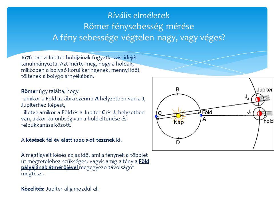 Rivális elméletek Römer fénysebesség mérése A fény sebessége végtelen nagy, vagy véges.