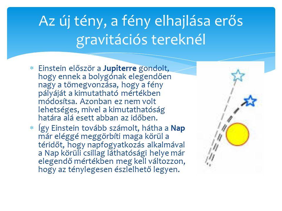  Einstein először a Jupiterre gondolt, hogy ennek a bolygónak elegendően nagy a tömegvonzása, hogy a fény pályáját a kimutatható mértékben módosítsa.