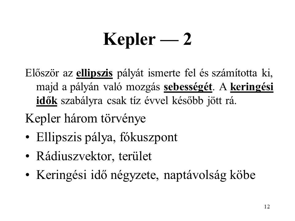 11 Kepler — 1 Kepler megvette az örökösöktől Brache méréseit, amelyek 4 szögperc pontosságúak voltak. A ptolemaioszi modellhez képest a hiba 8 szögper