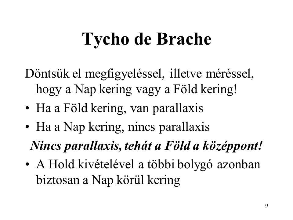 9 Tycho de Brache Döntsük el megfigyeléssel, illetve méréssel, hogy a Nap kering vagy a Föld kering.