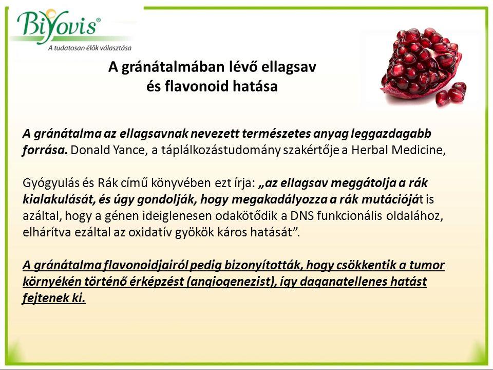 A gránátalmában lévő ellagsav és flavonoid hatása A gránátalma az ellagsavnak nevezett természetes anyag leggazdagabb forrása.