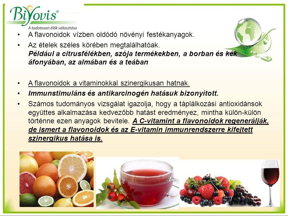 A flavonoidok vízben oldódó növényi festékanyagok. Az ételek széles körében megtalálhatóak. Például a citrusfélékben, szója termékekben, a borban és k