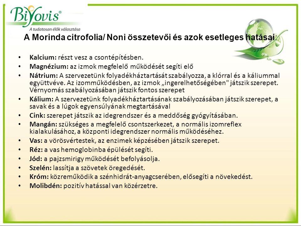 A Morinda citrofolia/ Noni összetevői és azok esetleges hatásai: Kalcium: részt vesz a csontépítésben. Magnézium: az izmok megfelelő működését segíti