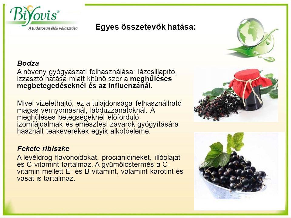 Egyes összetevők hatása: Bodza A növény gyógyászati felhasználása: lázcsillapító, izzasztó hatása miatt kitűnő szer a meghűléses megbetegedéseknél és