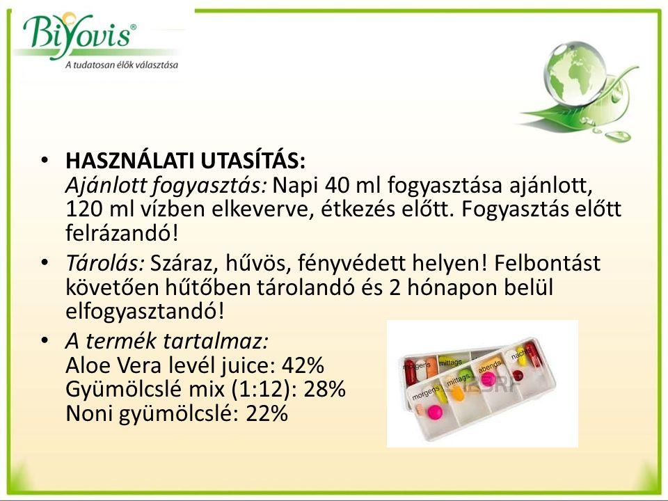 HASZNÁLATI UTASÍTÁS: Ajánlott fogyasztás: Napi 40 ml fogyasztása ajánlott, 120 ml vízben elkeverve, étkezés előtt. Fogyasztás előtt felrázandó! Tárolá