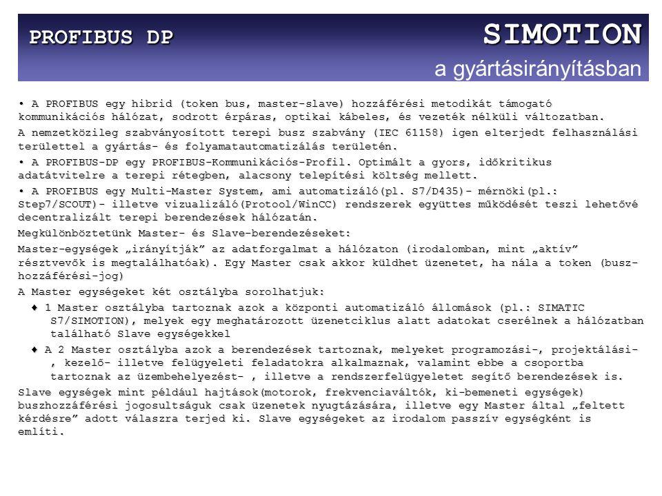 PROFIBUS DP SIMOTION PROFIBUS DP SIMOTION a gyártásirányításban A PROFIBUS egy hibrid (token bus, master-slave) hozzáférési metodikát támogató kommuni