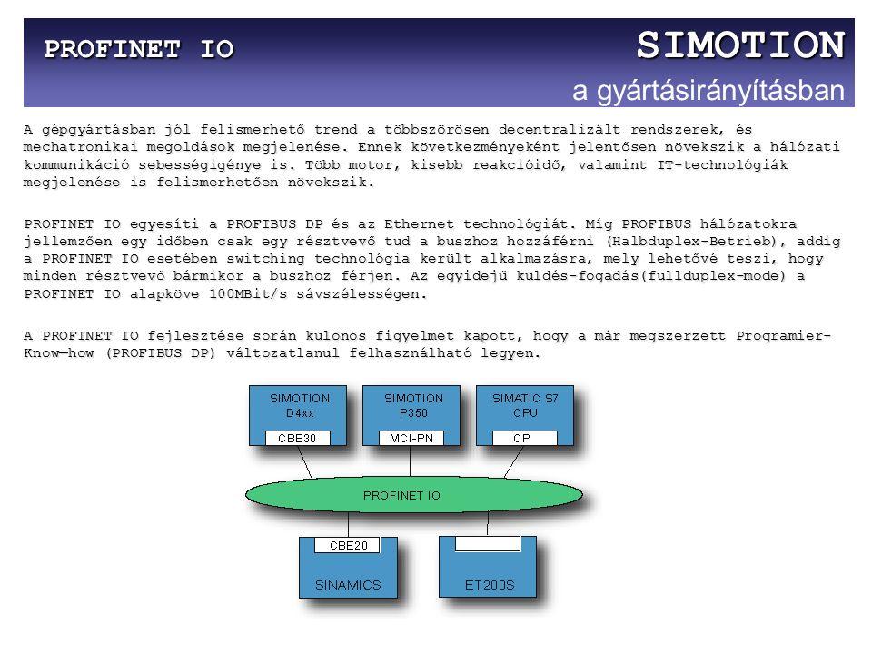 PROFINET IO SIMOTION PROFINET IO SIMOTION a gyártásirányításban A gépgyártásban jól felismerhető trend a többszörösen decentralizált rendszerek, és me