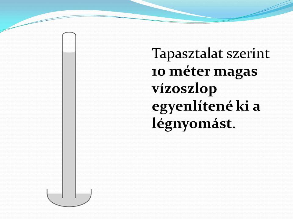 Tapasztalat szerint 10 méter magas vízoszlop egyenlítené ki a légnyomást.