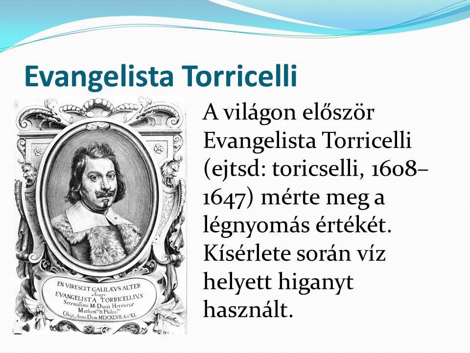 Evangelista Torricelli A világon először Evangelista Torricelli (ejtsd: toricselli, 1608– 1647) mérte meg a légnyomás értékét. Kísérlete során víz hel