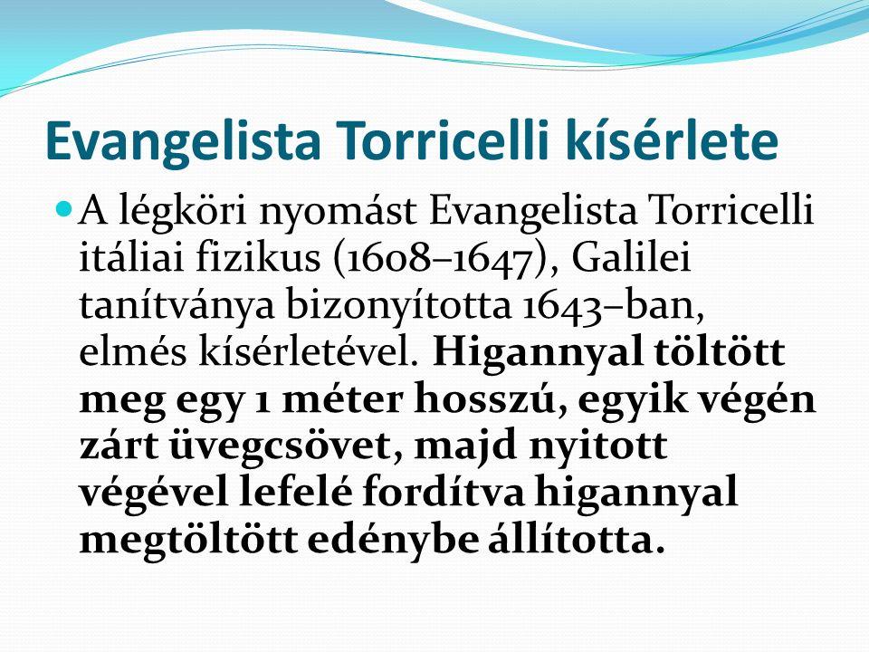 Evangelista Torricelli kísérlete A légköri nyomást Evangelista Torricelli itáliai fizikus (1608–1647), Galilei tanítványa bizonyította 1643–ban, elmés