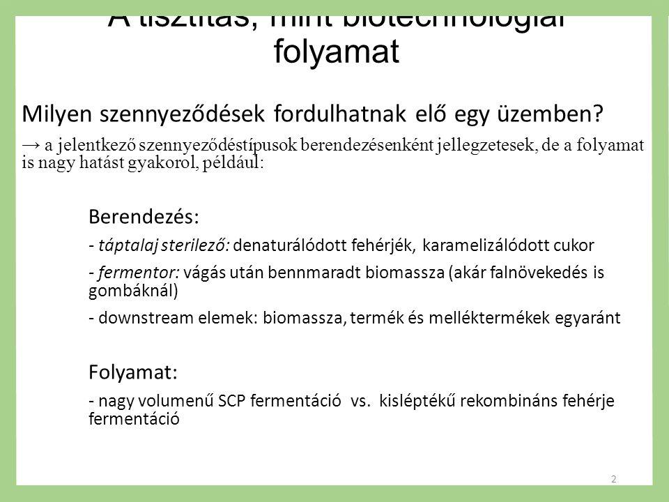 A tisztítás, mint biotechnológiai folyamat Miért van szükség tisztításra egy biotechnlógiai üzemben.