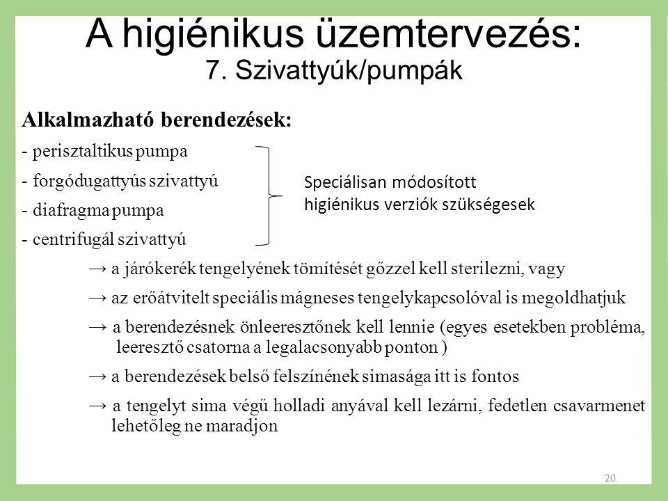 A higiénikus üzemtervezés: 7.