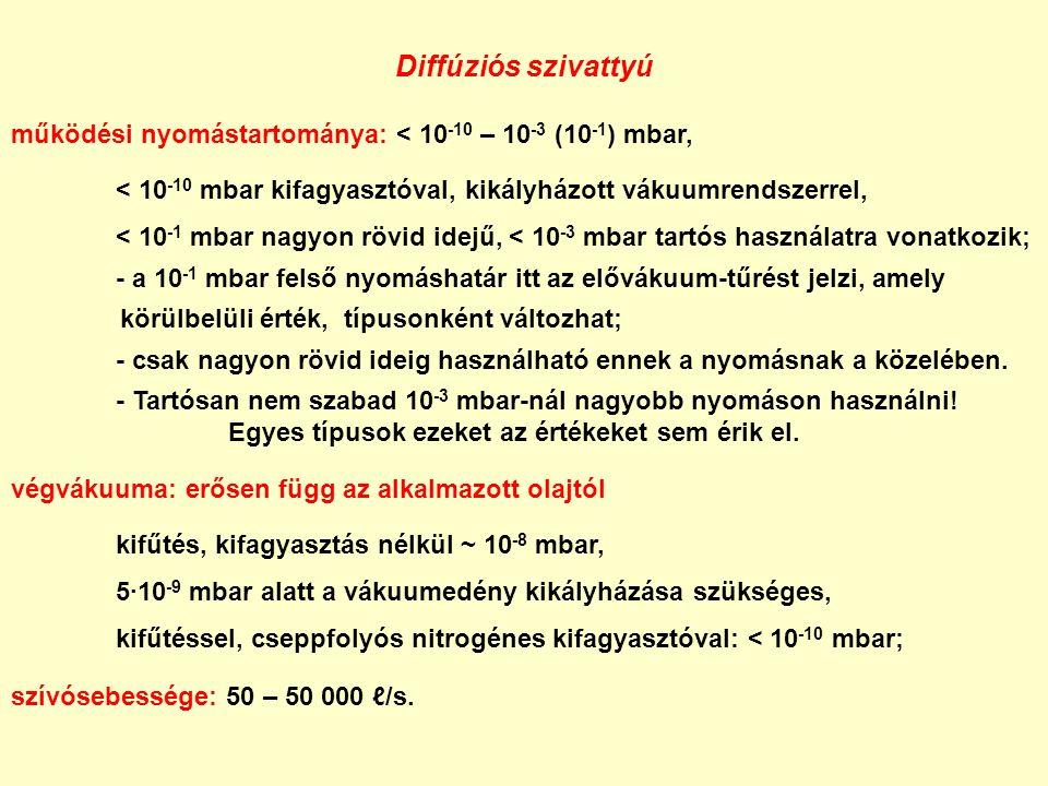 Diffúziós szivattyú működési nyomástartománya: < 10 -10 – 10 -3 (10 -1 ) mbar, < 10 -10 mbar kifagyasztóval, kikályházott vákuumrendszerrel, < 10 -1 m