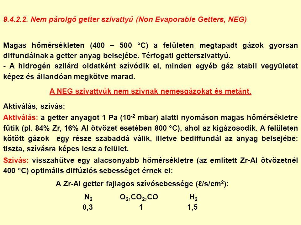 9.4.2.2. Nem párolgó getter szivattyú (Non Evaporable Getters, NEG) Magas hőmérsékleten (400 – 500 °C) a felületen megtapadt gázok gyorsan diffundálna
