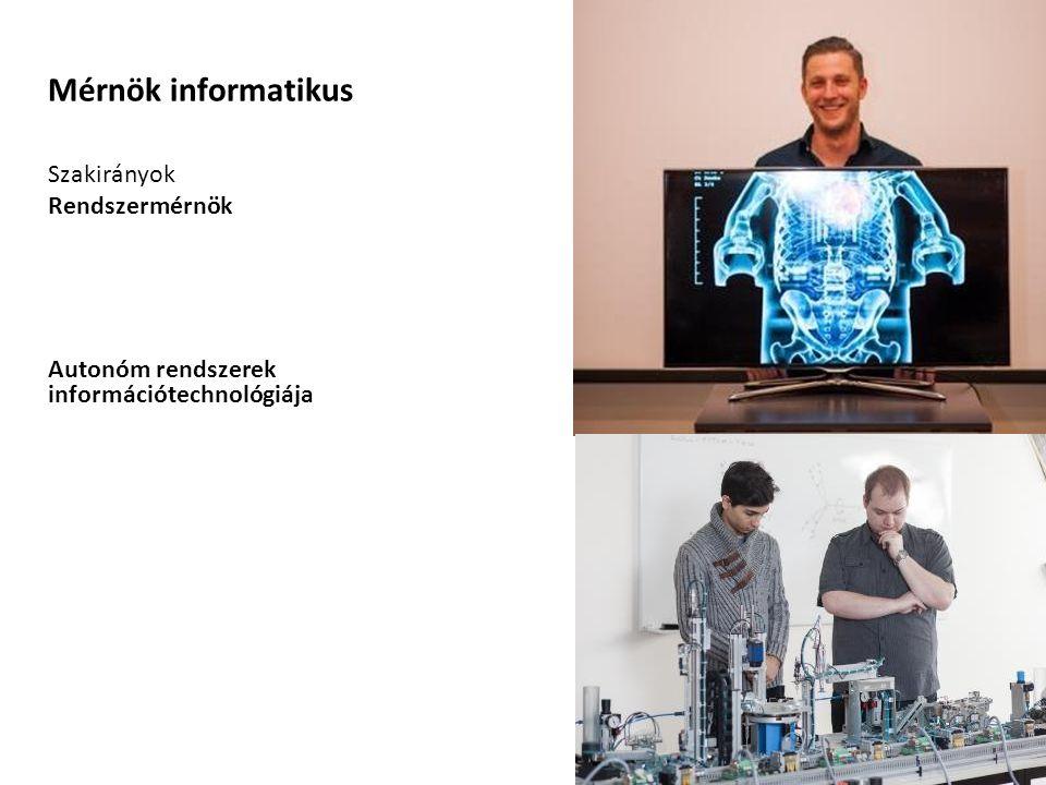 Mérnök informatikus Szakirányok Rendszermérnök Autonóm rendszerek információtechnológiája