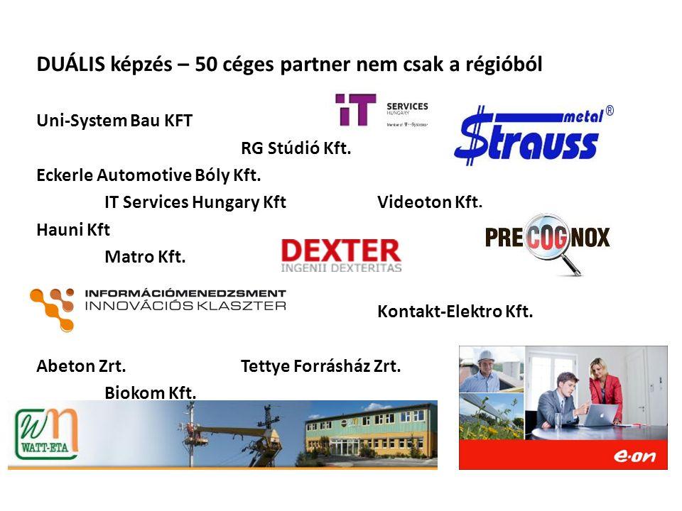 DUÁLIS képzés – 50 céges partner nem csak a régióból Uni-System Bau KFT RG Stúdió Kft. Eckerle Automotive Bóly Kft. IT Services Hungary KftVideoton Kf