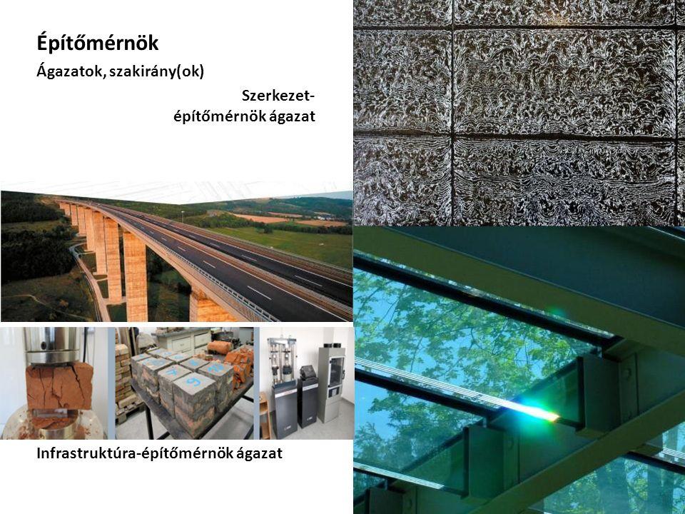 Építőmérnök Ágazatok, szakirány(ok) Szerkezet- építőmérnök ágazat Infrastruktúra-építőmérnök ágazat