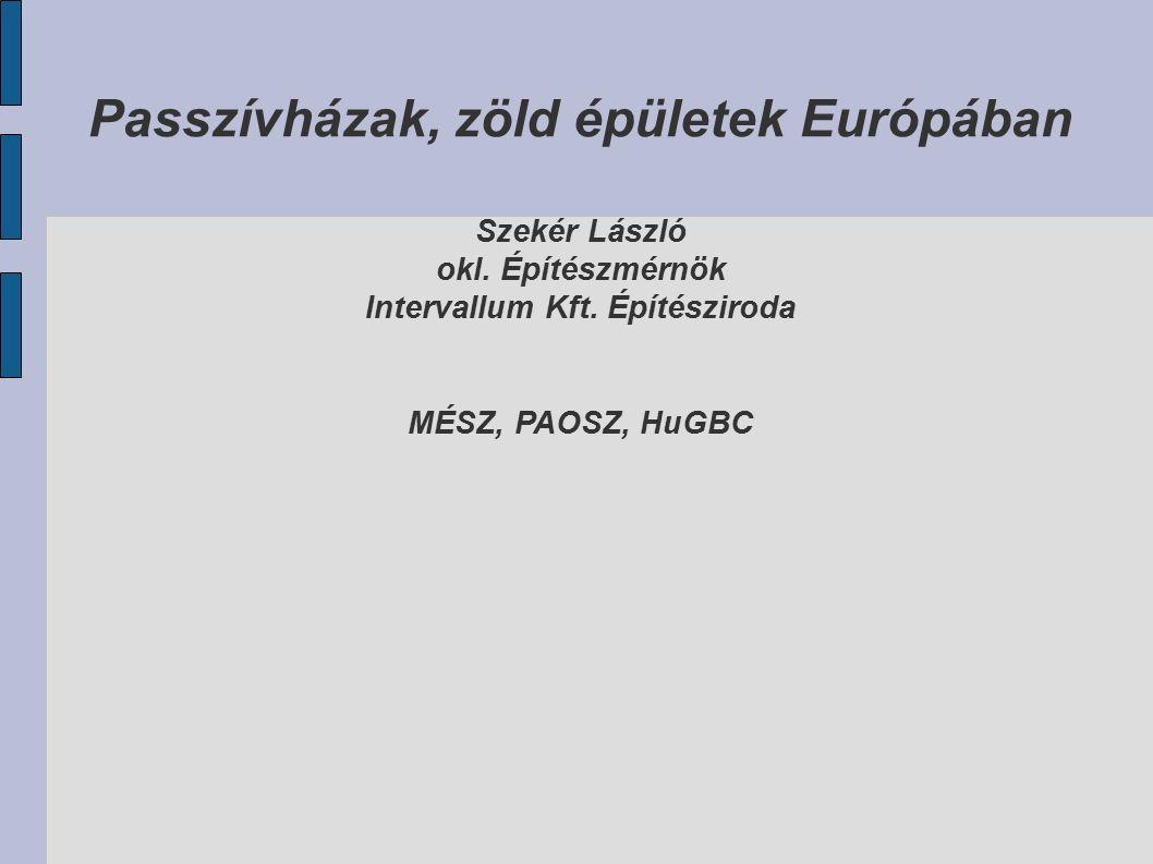 Passzívházak, zöld épületek Európában Szekér László okl.