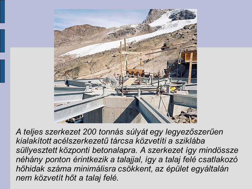 A teljes szerkezet 200 tonnás súlyát egy legyezőszerűen kialakított acélszerkezetű tárcsa közvetíti a sziklába süllyesztett központi betonalapra.
