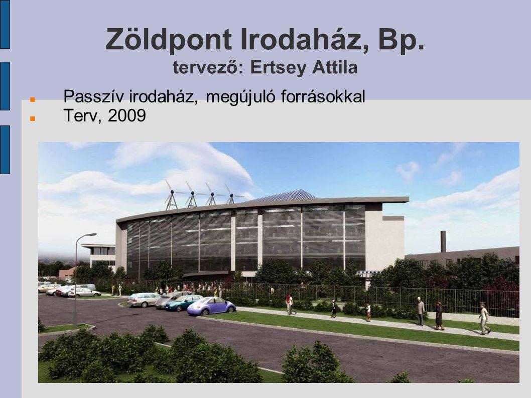 Zöldpont Irodaház, Bp. tervező: Ertsey Attila Passzív irodaház, megújuló forrásokkal Terv, 2009